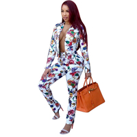 Women 2Pcs 2018 New Fall Winter V Neck New Fashion Floral Printed Elastic Waist Pants Bodycon Suit 2Pc Outfits Pants Cloth Set