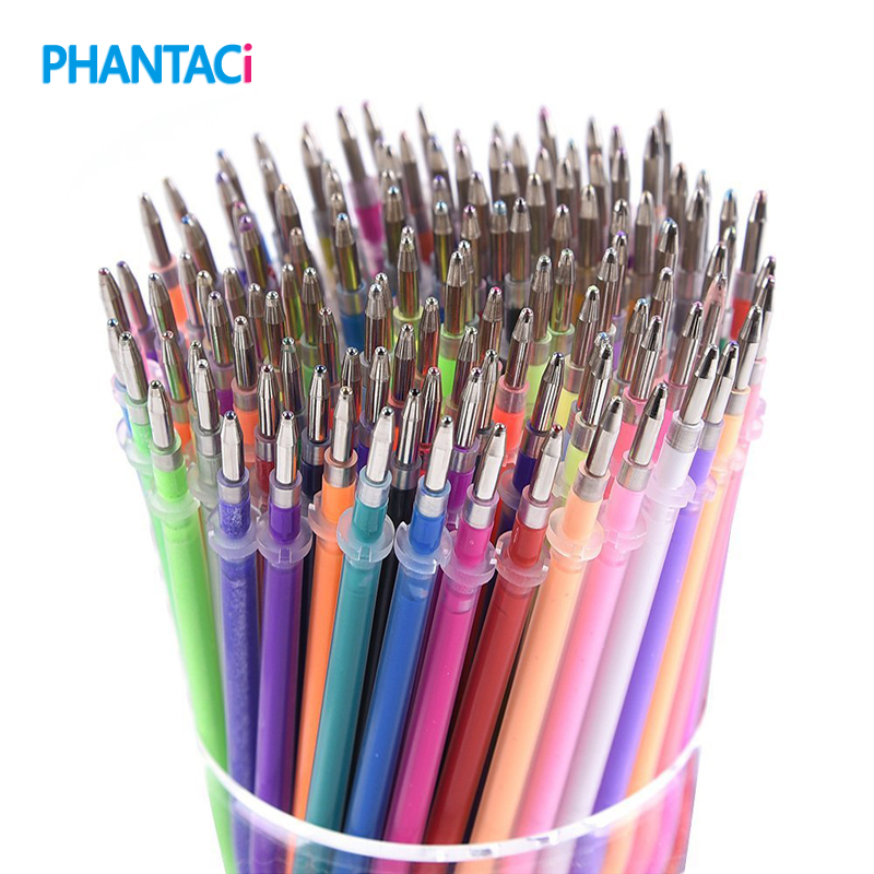 100 pcs/lot 100 Colors Gel Pen Refill Multi Colored Painting Gel Ink Ballpoint Pens Refills Writing Student School Stationery цена