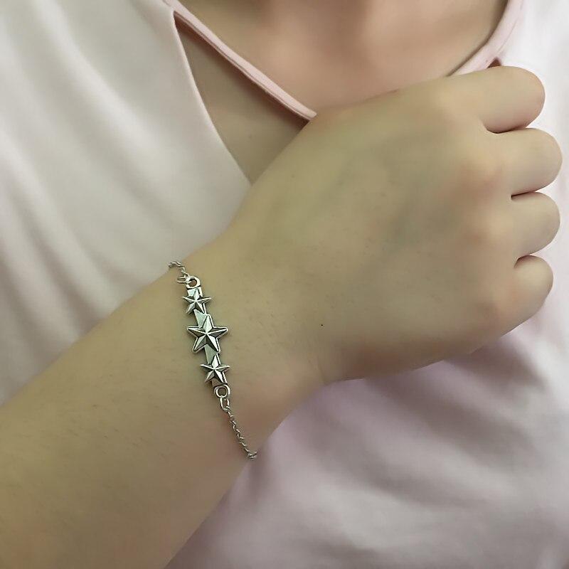 ns209 Silver Star Charm Bracelets For Women Fashion Chain Bracelets Jewelry Summer Simple Friengship Bracelet Girl Gift
