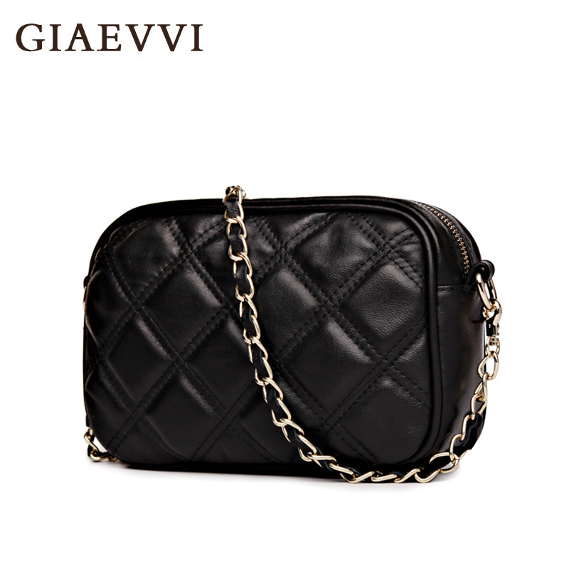 ФОТО GIAEVVI Genuine Leather Mini crossbody bag women Messenger bags 2016 Brand design summer small fashion Chain women shoulder bag