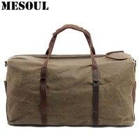 Для мужчин холст Duffle Bag негабаритных Водонепроницаемый Чемодан дорожные сумки мужской большой Ёмкость Tote Винтаж Повседневное ручной клади