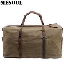 Men Canvas Duffle Bag Oversized Waterproof Luggage Travel Bags Male Large Capacity Tote Vintage Casual Carry-on Trip Weekend Bag