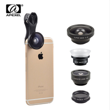 APEXEL unverisal 5 in 1 cell phone digicam lenses Equipment for iPhone Samsung Xiaomi Fisheye Macro Extensive Angle CPL fiter lente