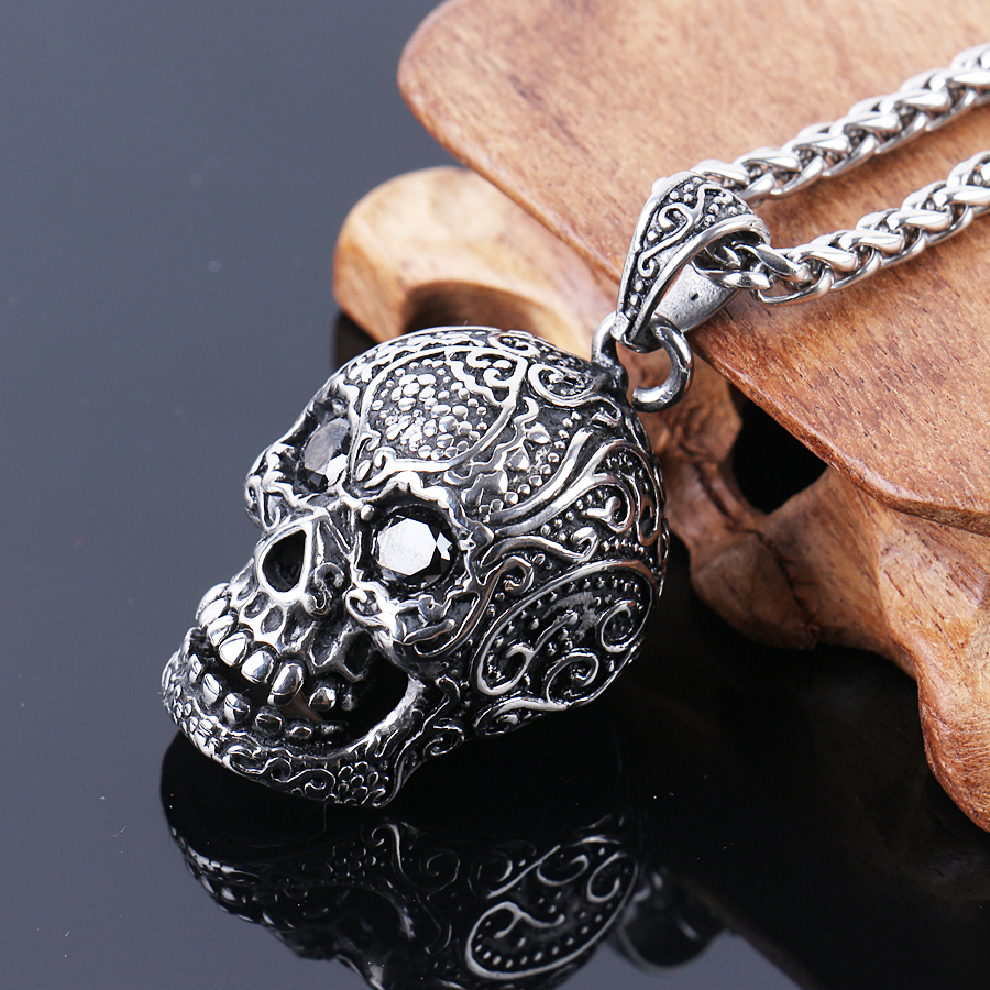 silver pendant eye golden skull with chain sugar in and product brass