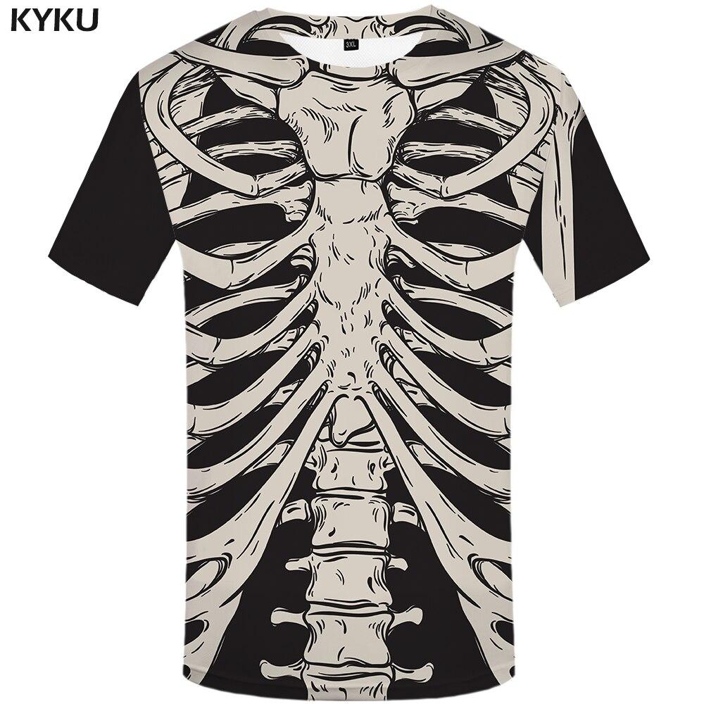 KYKU Brand Skeleton T Shirt Women Bone Tshirt Funny T Shirts Fitness 3d Print T-shirt Anime Clothes Casual Womens Clothing 2018