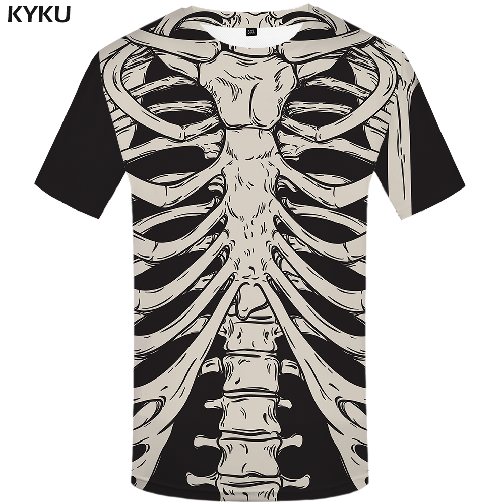 KYKU Brand Skeleton T Shirt Women Bone Tshirt Funny T Shirts Fitness 3d Print T-shirt Anime Clothes Casual Womens Clothing 2018