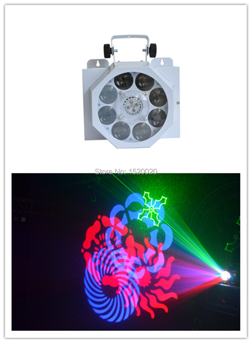 Laser Green Red color light laser diode:DPSS,G532nm/50mw R650nm/150mw +8*3w led gobo spot light ...