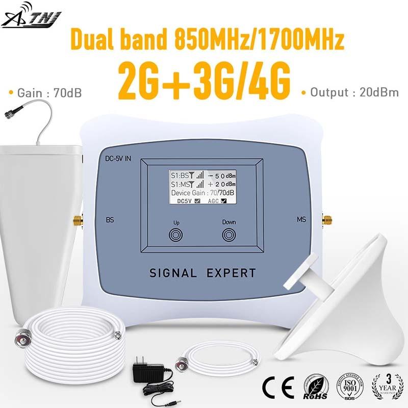 Amplificateur de répéteur de signal mobile 2g 3g 4g à double bande 850/1700 mhz avec kit d'affichage LCD