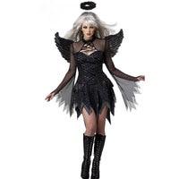 Wholesale Sexy Devil Fallen Angel Costumes,Big Zig classic Halloween party fancy dress black wings and black halo
