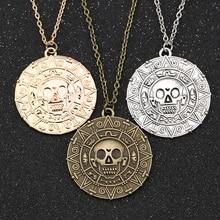 Collar Piratas del Caribe Jack Sparrow medallón de moneda azteca Vintage bronce dorado colgante de plata Johnny Depp al por mayor
