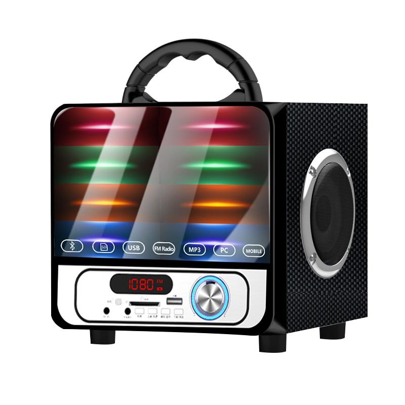 Haut-parleur Portable extérieur caisson de basses sans fil Bluetooth haut-parleur Mini maison Radio TF AUX USB lumières colorées Hifi haut-parleurs A18