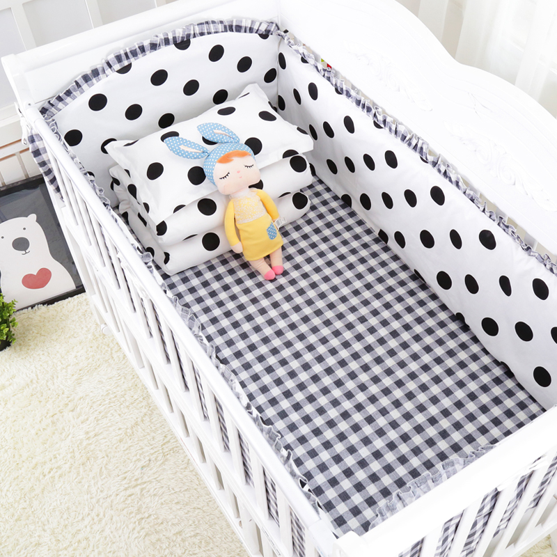 7pcs/set Dots Printed Crib Bedding Set For Baby Bed Bumpers Bed Sheet Pillow Quilt For Infant Cotton Baby Bedding Set Baby Items7pcs/set Dots Printed Crib Bedding Set For Baby Bed Bumpers Bed Sheet Pillow Quilt For Infant Cotton Baby Bedding Set Baby Items