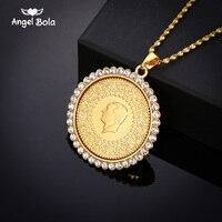 Никогда не выцветший большой размер Турция магнит для монет и ожерелья с AAA кристаллом для женщин золотой цвет турецкие ювелирные изделия и...