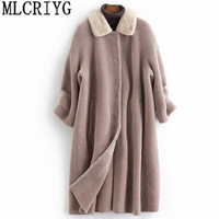 MLCRIYG натуральная шерсть шуба женская с натуральным норковым меховым воротником овечья стрижка пальто длинная теплая осенне зимняя куртка ж