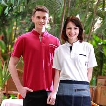 (5 get 10%off,10 get apron)Man/woman coffee shop restaurant hotel short sleeve waiter T-shirt uniform work ware work clothes