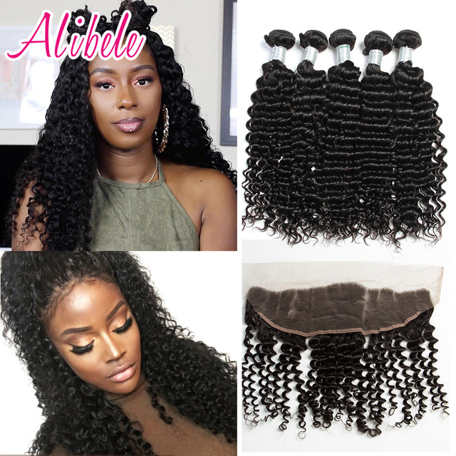 Ali Bele Malaysian Deep Curly With Frontal 7A Mink Malaysian Virgin Hair Deep Wave Curly Lace Frontal Closure With 4 Bundles
