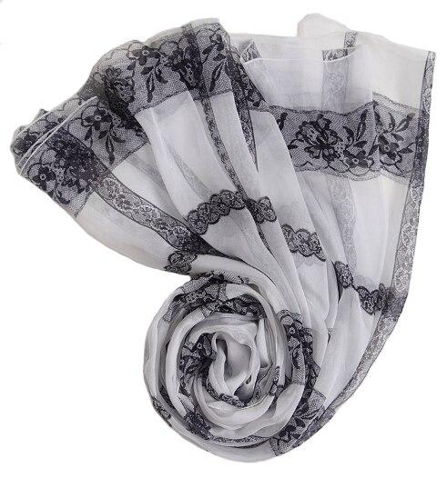100% pur soie cou d'été écharpe Imprimé Dentelle blanc noir pas cher soie foulards doux pense collier écharpes plage tapisserie