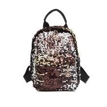 2019 New Hot Sale Women Girls Sequins PU Glitter Backpack Rucksack Travel Shoulder School Bag