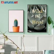 Green Cactus Quotes Nordic Poster Wall Art Canvas Painting Posters And Prints Pop Art Plant Wall Pictures For Living Room Decor moon sun quotes nordic poster wall art canvas painting posters and prints canvas art print wall pictures for living room decor