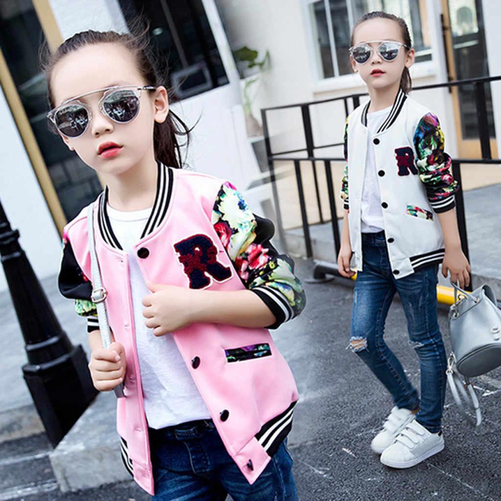 KLV/куртки для маленьких девочек, пальто детская бейсбольная куртка для подростков пальто в полоску с длинными рукавами верхняя одежда, зимние теплые жакеты #50