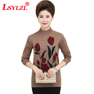 Knitted Bottom Shirt Pullover Sweater Autumn Winter Women Jumper Middle Age Mother Flare Floral Printed Lady Knitwear Top C361