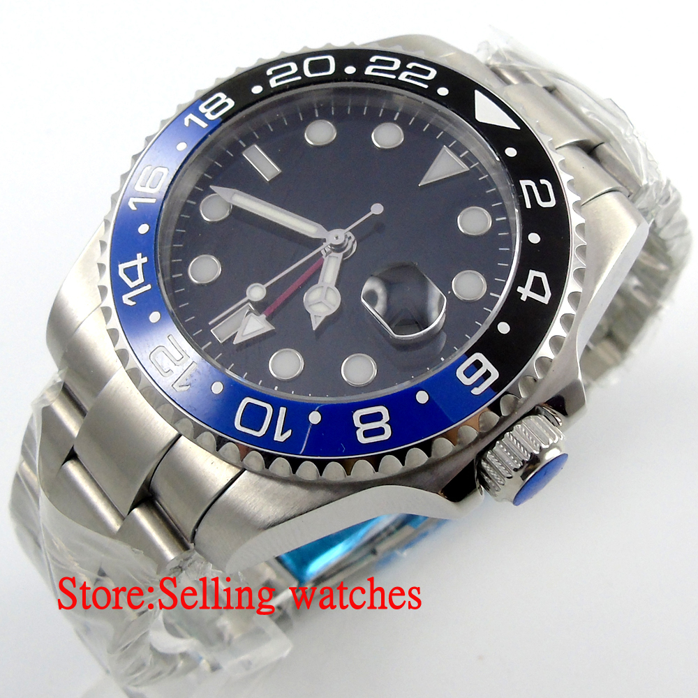43mm parnis black dial red GMT Ceramic Bezel sapphire glass automatic mens watch цена и фото