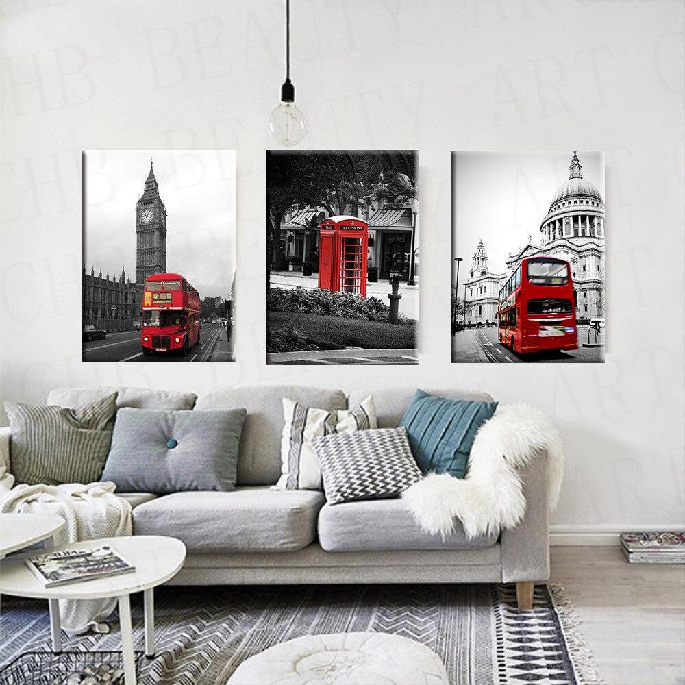 Salon Blanc Noir Et Rouge tout 3 pièce moderne toile peinture rouge blanc noir paris ville art mur
