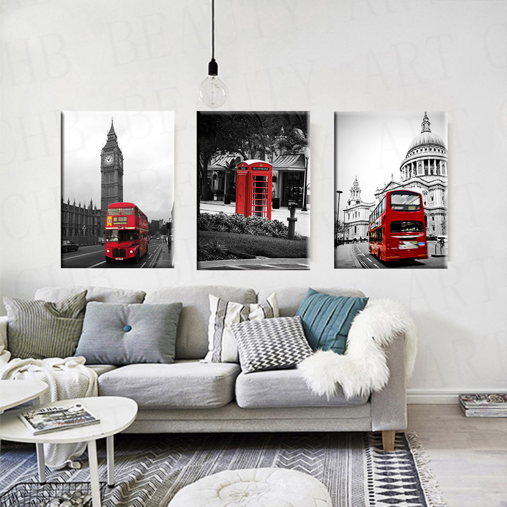 3 Piece Modern Canvas Painting Red White Black Paris City Art Wall ...