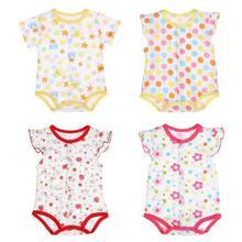 Sommer-Baby-Kleidung-Mädchen-Spielanzug-Unisexbaby-beiläufiger kurzer Hülsen-Baumwolle O-Ansatz knöpft dünnen Spielanzug-breathable Overall