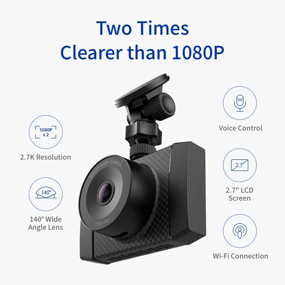 Камера YI Ultra с 16G картой Dash Разрешение 2,7 K A17 A7 двухъядерный чип Голосовое управление светильник с сенсором 2,7 дюймов широкоэкранный стекло