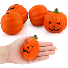 Kawaii Anti-stress Cute Squishy Charm Slow Rising Pumpkin Squishes Squishi Halloween pumpkin PU Toy Gift(China)