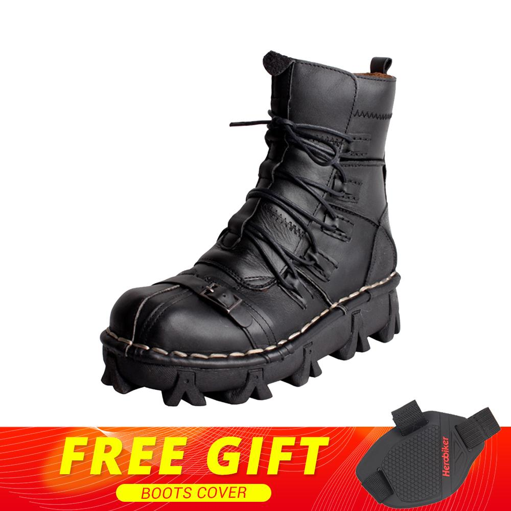 New Motorcycle Boots Men Retro Genuine Cow Leather Skull Punk Martin Shoes Motorbike Biker Moto Boots Protective Gear EU 38-49