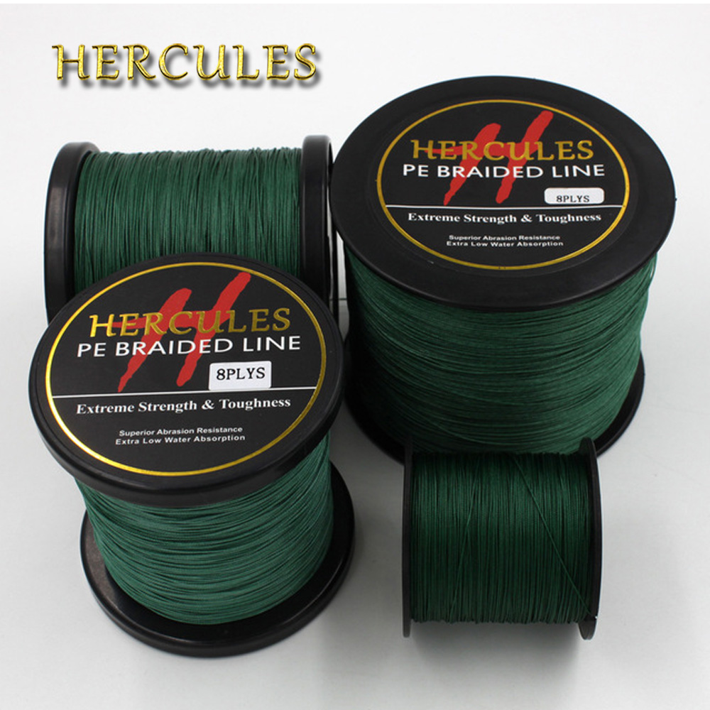 Hercules Super Strong Green Braid Fishing Line 8 Strands 100M 300M 500M 1000M 1500M 2000M Sea Saltwater Fishing Cord Super Power стоимость