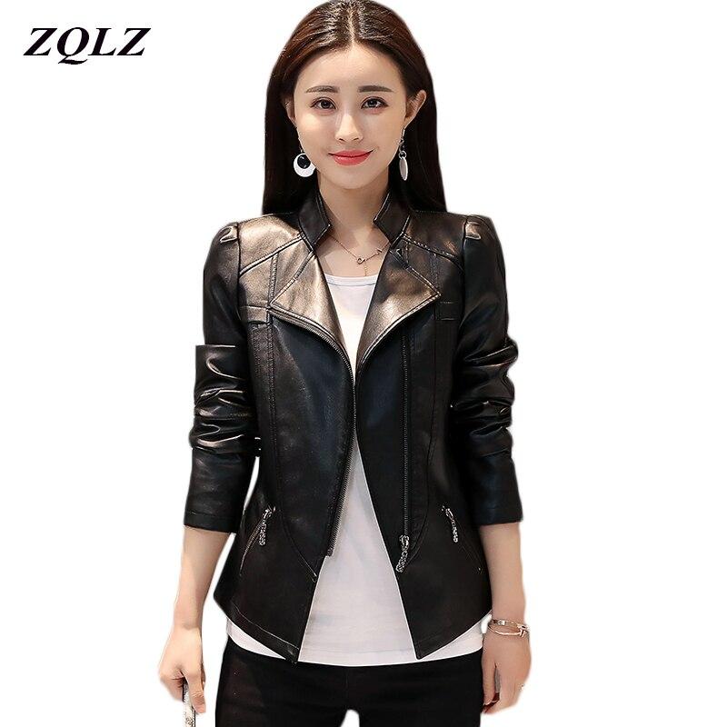 Zqlz Plus Size 6xl Faux   Leather   Jacket Women Spring Autumn Turn-down Collar Zipper Motorcycle Ladies   Leather   Jackets Short Coat