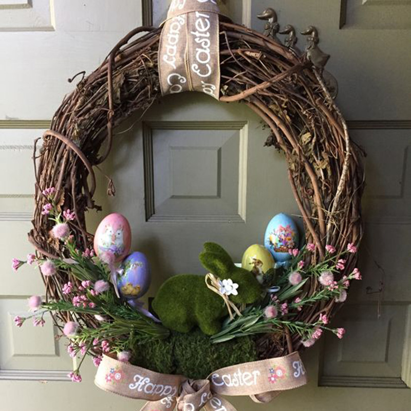 Easter <font><b>Decorations</b></font> for home Rattan Wreath Easter DIY Hanging Garland decor wedding artificial flowers 10 15 20 25 <font><b>30</b></font> cm image