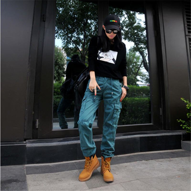 Women Multiple Pockets Cargo Pants Solid Color Hip Hop Pants Fashion Casual Loose Cargo Cotton Women's Winter Trousers A2790