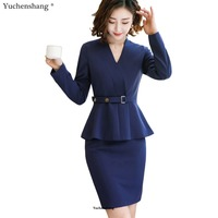 2018 women skirt suits slim work wear suits formal office ladies full sleeve v neck blazer with skirt two pieces sets
