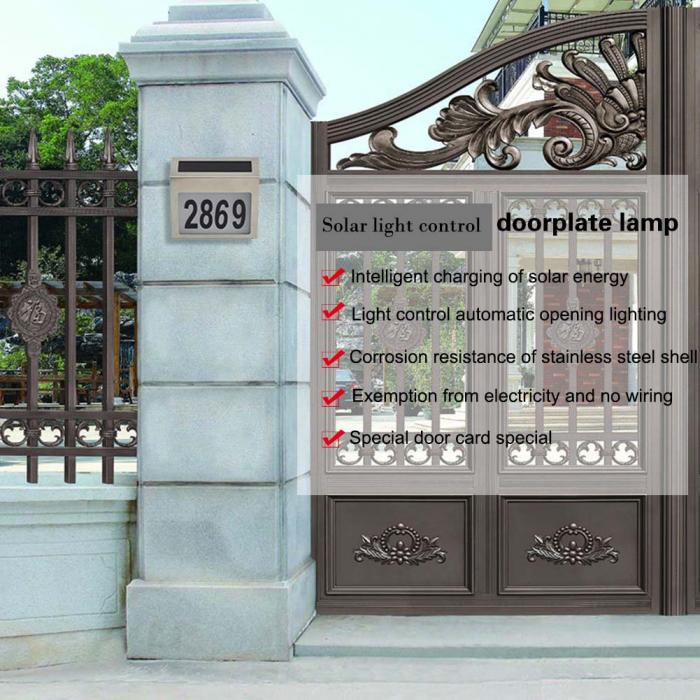 Solar Powered Light 3 LEDs Illumination Doorplate Wall Lamp Outdoor ...