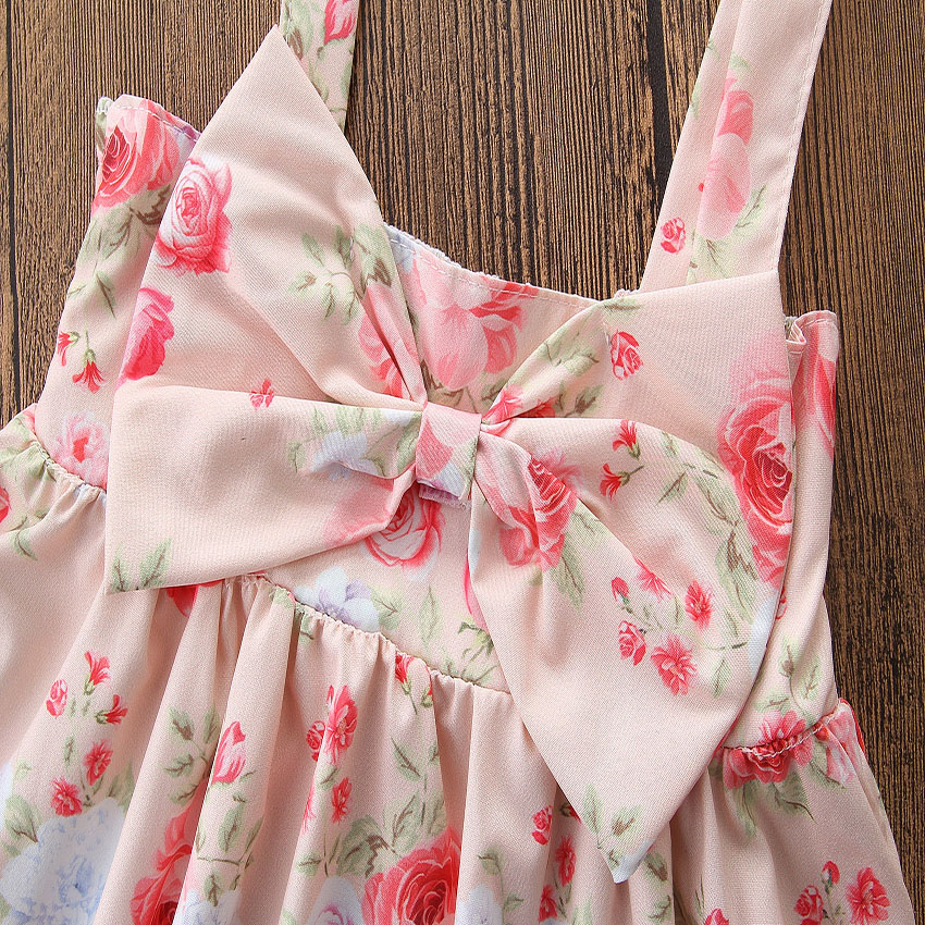 Toddler Girls Summer Clothing Sleeveless Condole Belt Floral Print Bowknot Dress Baby Girs Clothes Kids Dresses Children Outfits