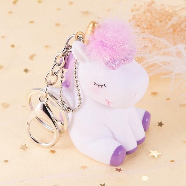 Rainbow Unicorn Animal Keychain Macio Pele De Coelho Bola Pompom de Pele de Coelho Artificial do Anel Chave Da Corrente Chave Das Mulheres Saco de Decoração Do Carro