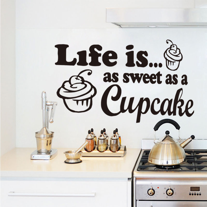 Genial Life Sweet As Cupcake Wall Sticker Home Art Decor Removable Kitchen Art  Murals Cake Shop Outdoor Decoration Decals In Wall Stickers From Home U0026  Garden On ...