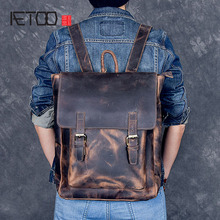 AETOO Brand Designer Men Genuine Leather Backpack Crazy Horse Vintage Daypack Multi Pocket Casual Rucksack Handmade