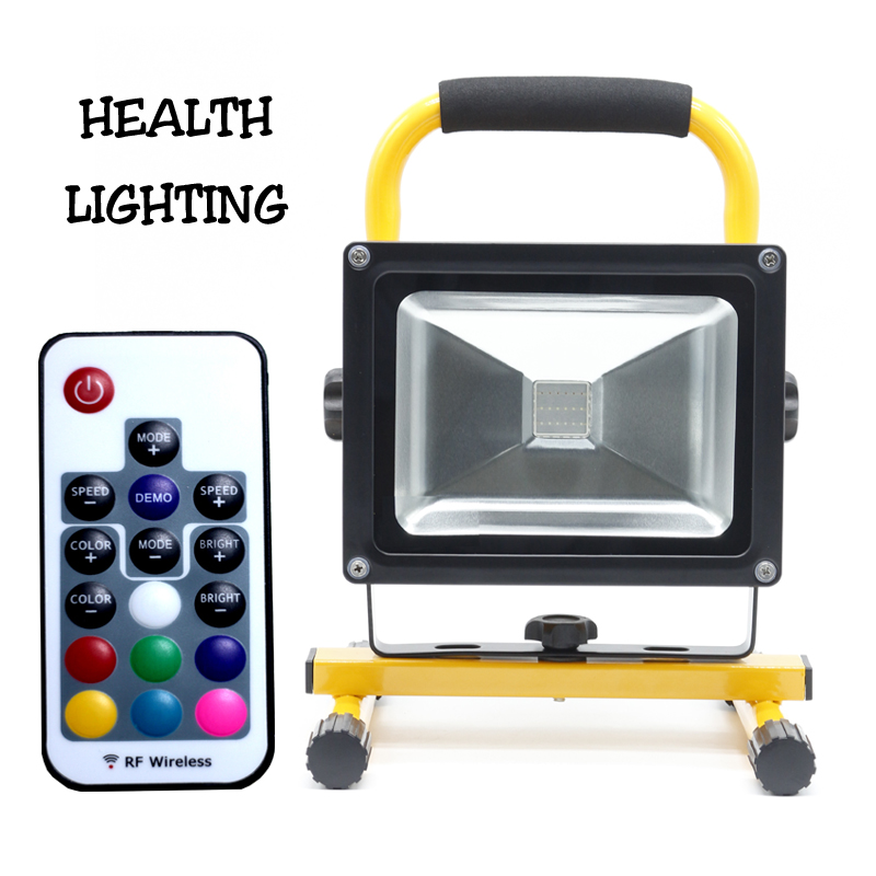 20W led RGB battery rechargeable light led flood light dimmable led flood light with RF remote control