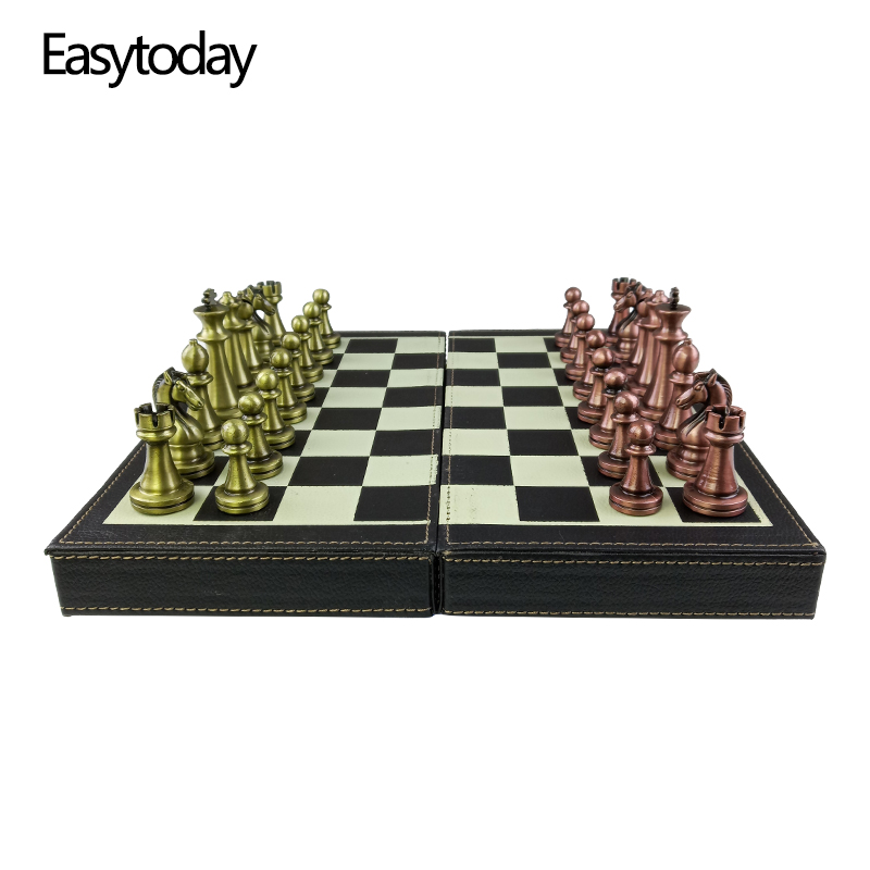 Easytoday Folding Chess Synthetic Leather Chess Board Solid Wood Chess Box Metal Chess Pieces High-quality Table Games Set Gift