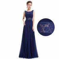 Navy Blue Chiffon Lace Mother Of The Bride Dress Ever Pretty HE08741NB Elegant A Line Mother