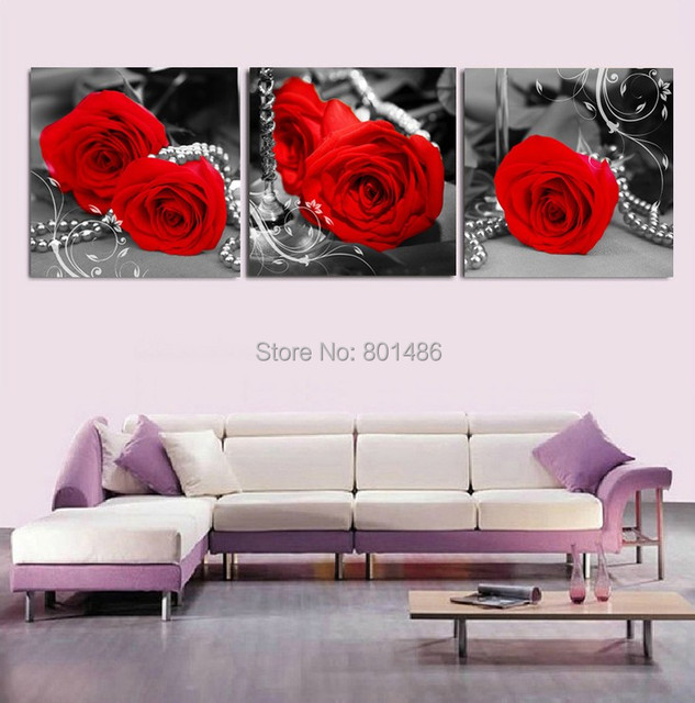 Direct factory price ! 3 pieces red roses in black+ white background ...