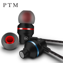 PTM M5 Stereo Earphone Headphones With Microphone Volume Control Headset Bass Metal Earbud for Iphone Samsung Xiaomi Ear phone
