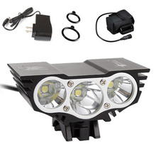 5000 Lumen 3x CREE T6 LED Front Bicycle Bike HeadLight Waterproof Headlamp+6400mAh Battery Pack with Charger