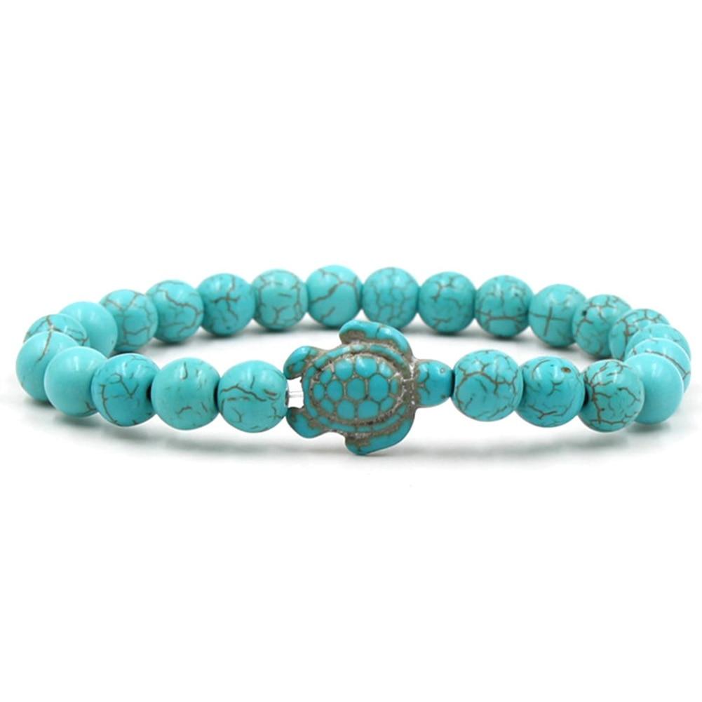 Summer Style Sea Turtle Beads Bracelets For Women Men Classic 8MM Blue Natural Stone Elastic Friendship Bracelet Beach Jewelry