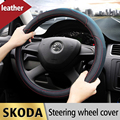 Leather Car Styling Steering Wheel Cover Case For Skoda Octavia A7 A 7 2015 2016 Fabia Rapid Superb Yeti 1 2 3 Auto Accessories